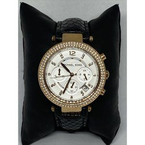 Michael Kors MK5896 Women's Black Leather White An